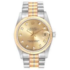 Rolex President Tridor Midsize White Yellow Rose Diamond Watch 68279
