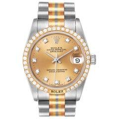 Rolex President Tridor Midsize White Yellow Rose Diamond Watch 68149