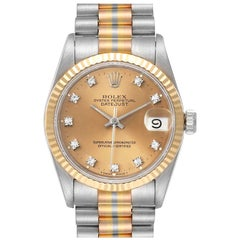 Rolex President Tridor Midsize White Yellow Rose Gold Diamond Ladies Watch 68279