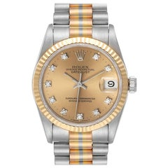 Rolex President Tridor Midsize White Yellow Rose Gold Diamond Watch 68279