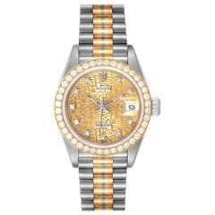 Rolex President Tridor White Yellow Rose Gold Diamond Ladies Watch 69139