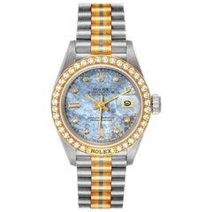 Rolex President Tridor White Yellow Rose Gold Diamond Ladies Watch 69149