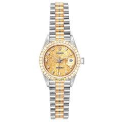 Rolex President Tridor White Yellow Rose Gold Diamond Ladies Watch 69179