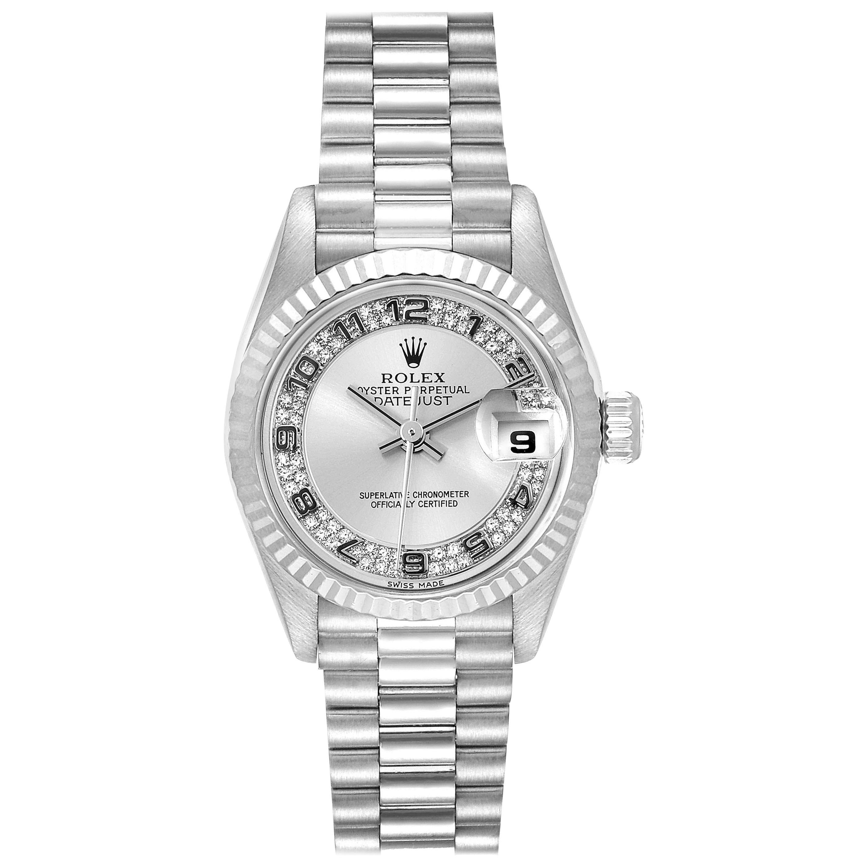 Rolex President White Gold Myriad Diamond Dial Ladies Watch 69179 Box Papers
