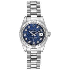 Rolex President White Gold Sodalite Diamond Ladies Watch 179369 Box Card