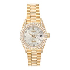 Rolex President Yellow Gold Anniversary Dial Diamond Ladies Watch 69158
