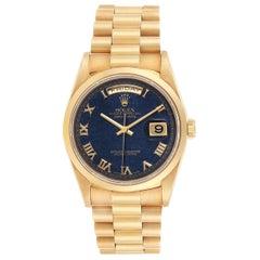 Rolex President Yellow Gold Blue Aventurine Men's Watch 18208 Box Papers