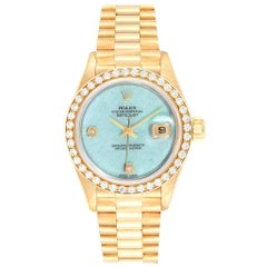 Rolex President Yellow Gold Blue Jadeite Diamond Ladies Watch 69178