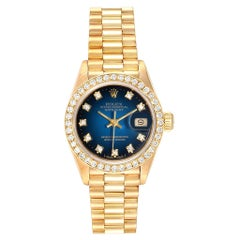 Rolex President Yellow Gold Blue Vignette Diamond Ladies Watch 69138