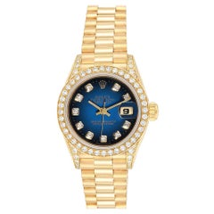 Rolex President Yellow Gold Blue Vignette Diamond Ladies Watch 69158
