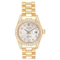 Rolex President Yellow Gold Diamond Dial Bezel Lugs Ladies Watch 179158