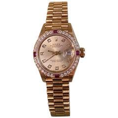 Rolex President Yellow Gold Diamond Rubies Watch 69068 Box Papers