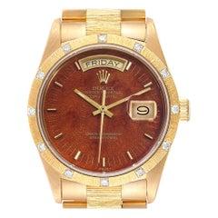 Rolex President Yellow Gold Diamond Wooden Dial Watch 18108