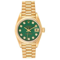 Rolex President Yellow Gold Green Stone Diamond Ladies Watch 69178 Box Papers