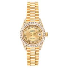 Rolex President Yellow Gold Myriad Diamond Dial Ladies Watch 79158