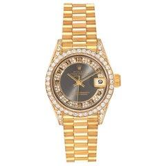 Rolex President Yellow Gold Myriad Diamond Ladies Watch 69158 Box Papers
