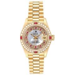 Rolex President Yellow Gold Myriad Diamonds Rubies Ladies Watch 69068