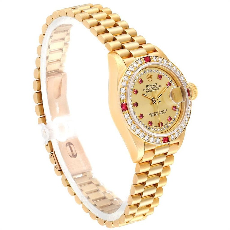 Rolex President Yellow Gold String Dial Diamond Ruby Ladies Watch 69068 In Good Condition In Atlanta, GA