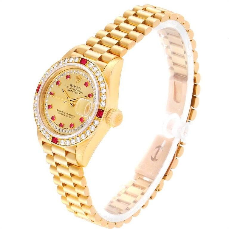 Women's Rolex President Yellow Gold String Dial Diamond Ruby Ladies Watch 69068
