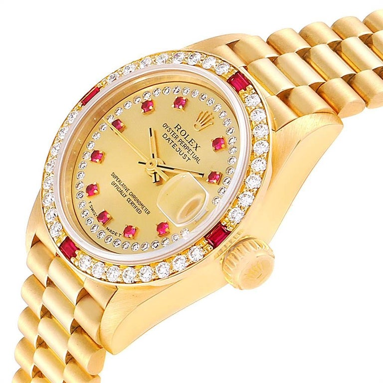 Rolex President Yellow Gold String Dial Diamond Ruby Ladies Watch 69068 1