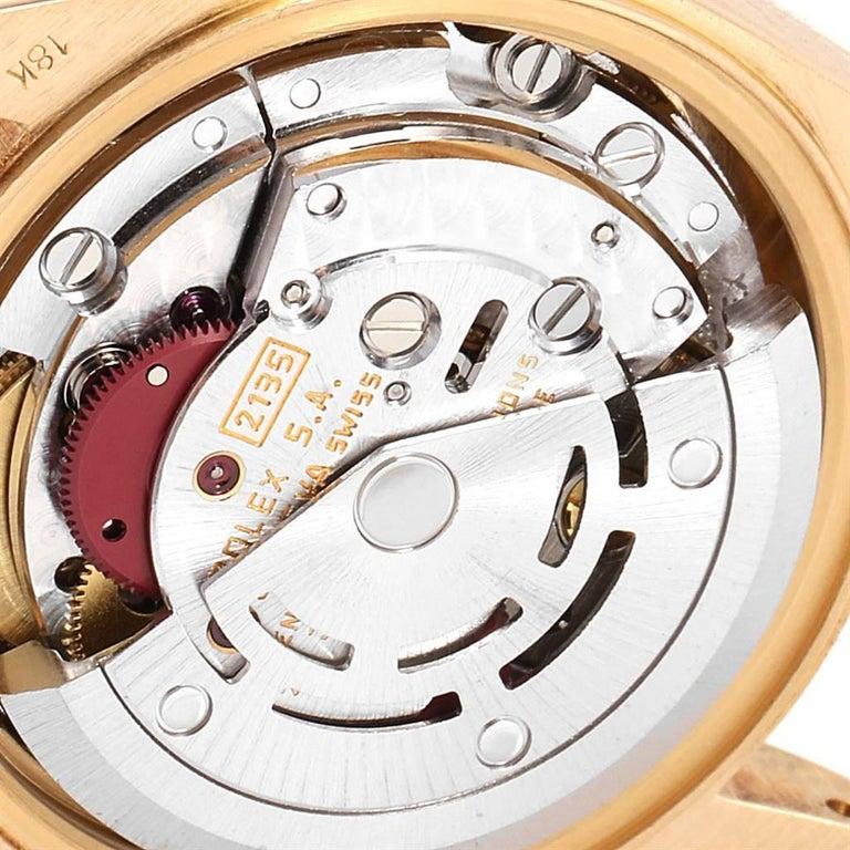 Rolex President Yellow Gold String Dial Diamond Ruby Ladies Watch 69068 4