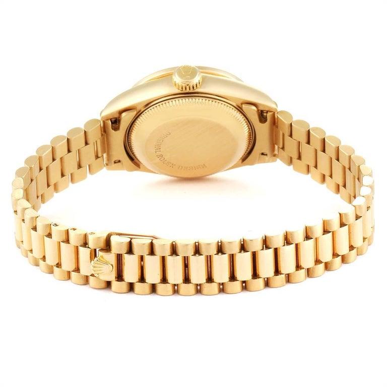 Rolex President Yellow Gold String Dial Diamond Ruby Ladies Watch 69068 5
