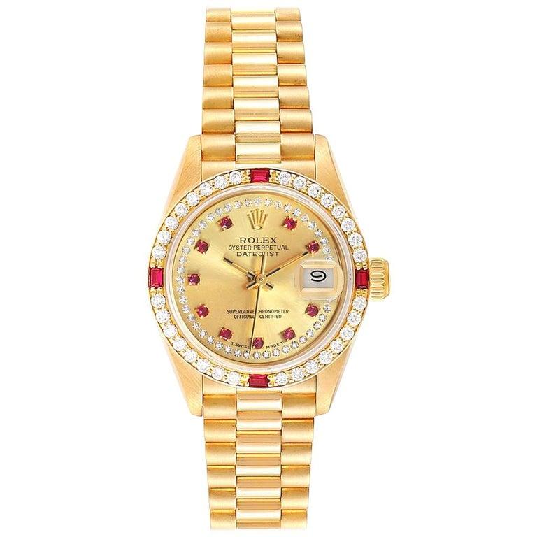 Rolex President Yellow Gold String Dial Diamond Ruby Ladies Watch 69068
