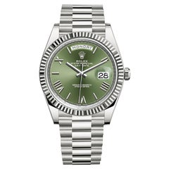 Rolex Presidential Day-Date 18k White Gold Green Olive Roman Dial 228239