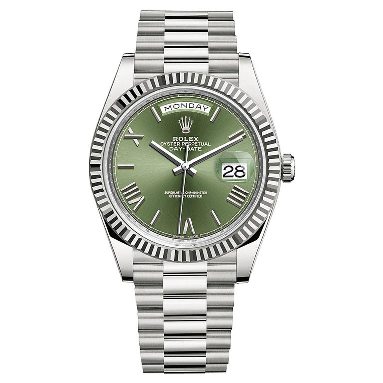 Rolex Presidential Day-Date 18k White Gold Green Olive Roman Dial 228239 For Sale