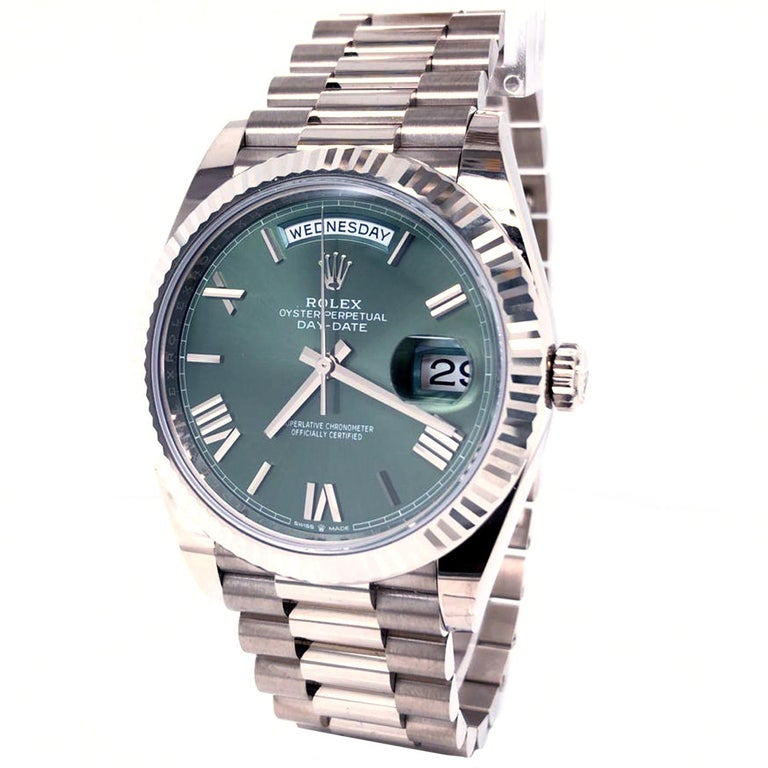Modernist Rolex Presidential Day-Date 18k White Gold Green Olive Roman Dial 228239 For Sale