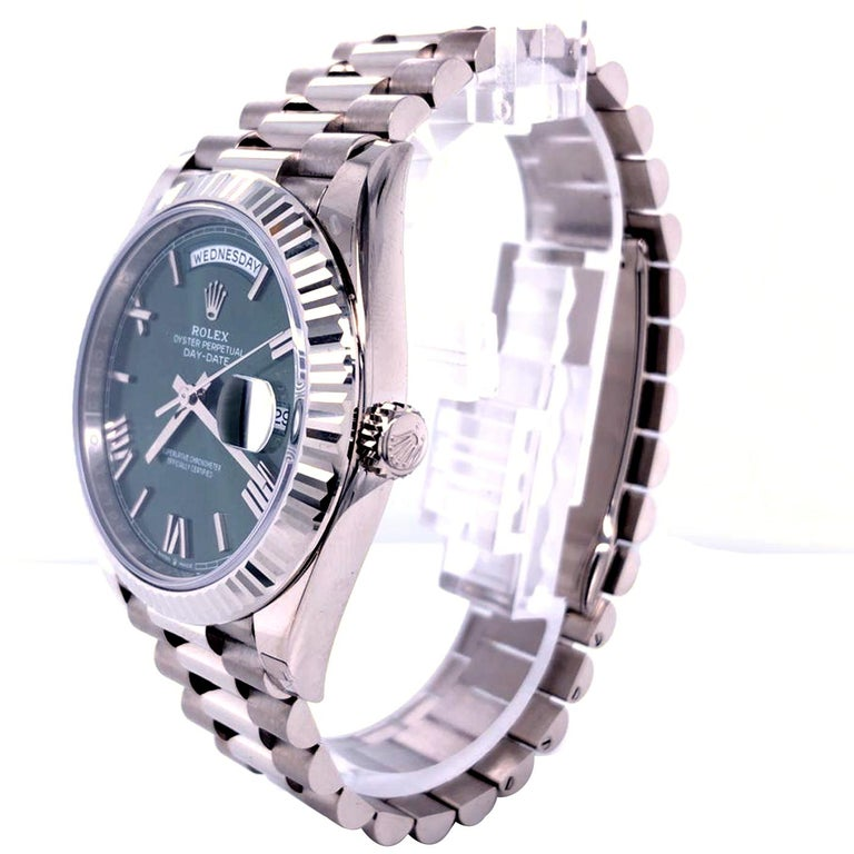 Rolex Presidential Day-Date 18k White Gold Green Olive Roman Dial 228239 For Sale 1