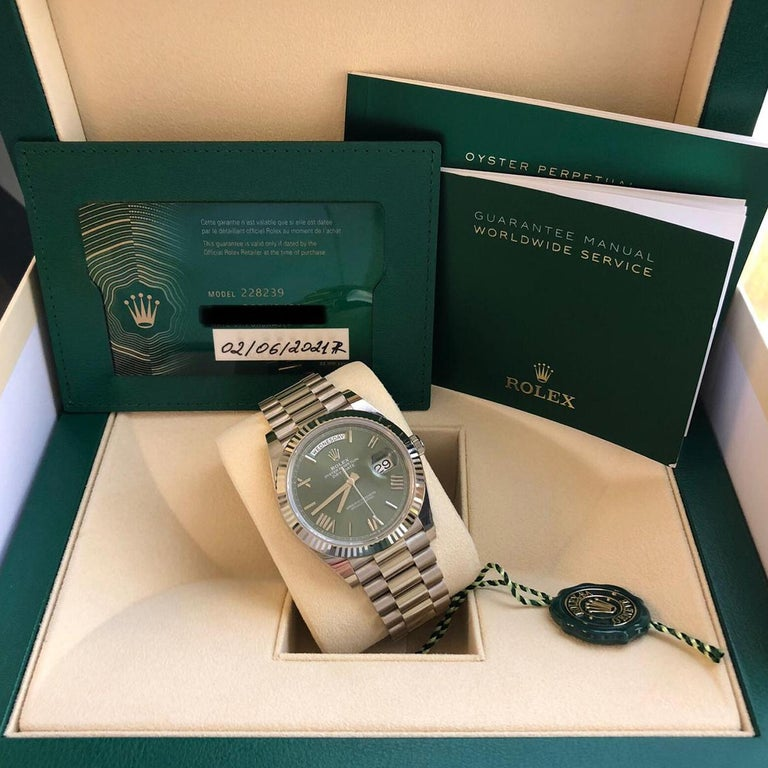 Rolex Presidential Day-Date 18k White Gold Green Olive Roman Dial 228239 For Sale 2