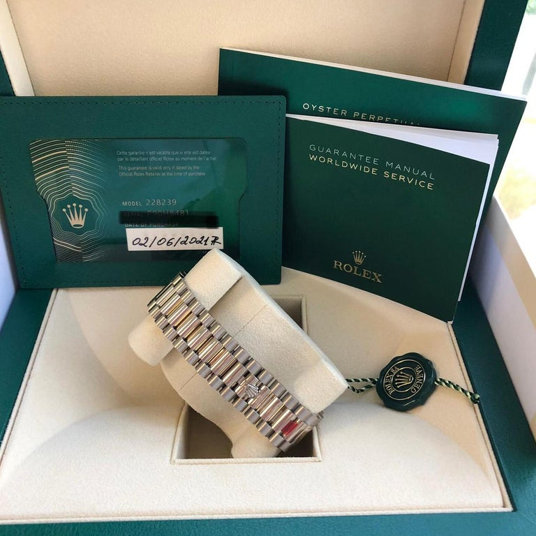Rolex Presidential Day-Date 18k White Gold Green Olive Roman Dial 228239 For Sale 3