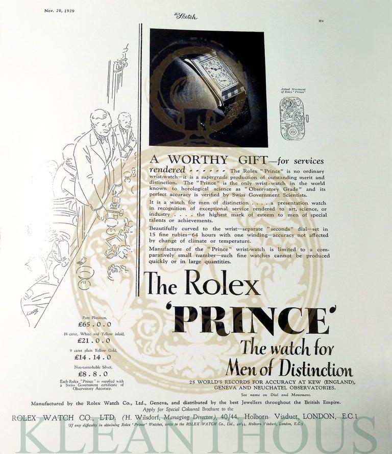 Rolex Prince Brancard, Art Deco, Silver, 1929 For Sale 10