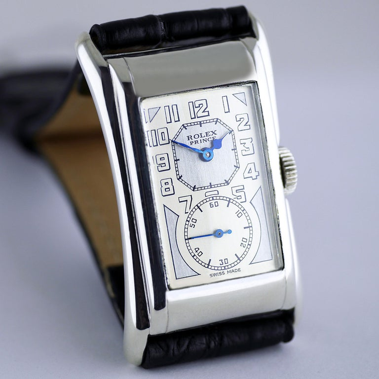 """A very rare, fine and well-preserved Art Deco vintage wristwatch in silver by Rolex made in 1929. One of the very first Rolex Prince models made in its launch year.  """"The Rolex Prince the watch for men of distinction""""  If there was ever an accessory"""