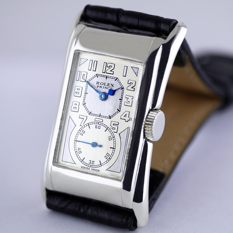 Rolex Prince Brancard, Art Deco, Silver, 1929 In Excellent Condition For Sale In London, GB