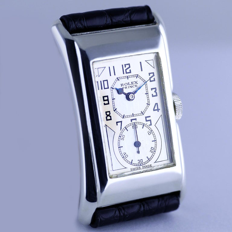 Rolex Prince Brancard, Art Deco, Silver, 1930 In Excellent Condition For Sale In London, GB