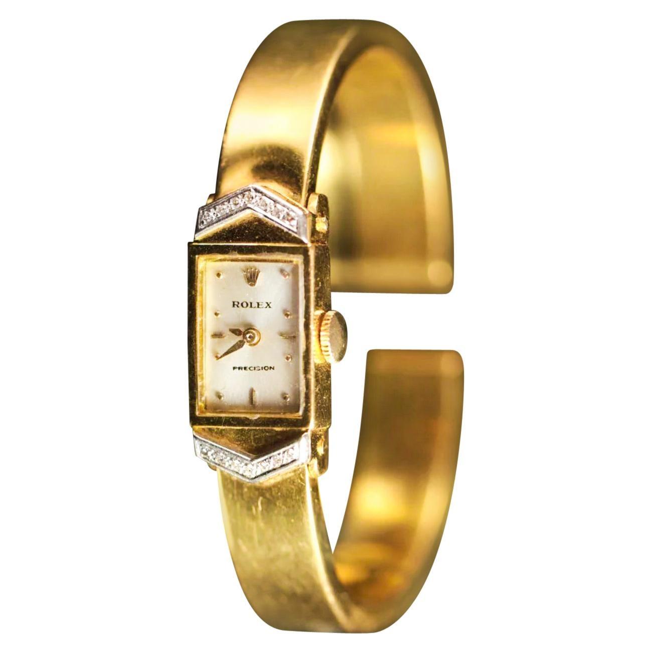 Rolex 1970s Precision 18 Karat Yellow Gold Diamond Bracelet Watch