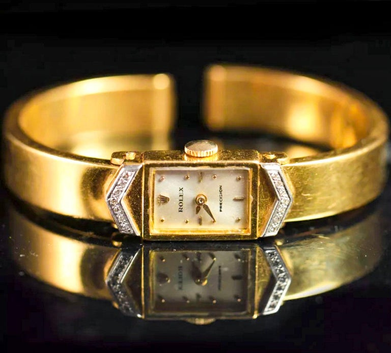 Timepiece Dimensions:   Wrist size fits up to 180mm * Can be resized complimentary as necessary  Case Dimensions are : 20mm x 11mm   The present timepiece is a very interesting and well made 1970s Vintage Rolex, made in 18kt yellow gold and fully