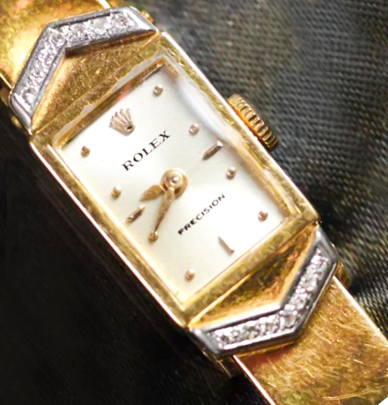 Rolex Rare 1970s Precision 18 Karat Yellow Gold Diamond Bracelet Watch In Good Condition For Sale In New york, NY