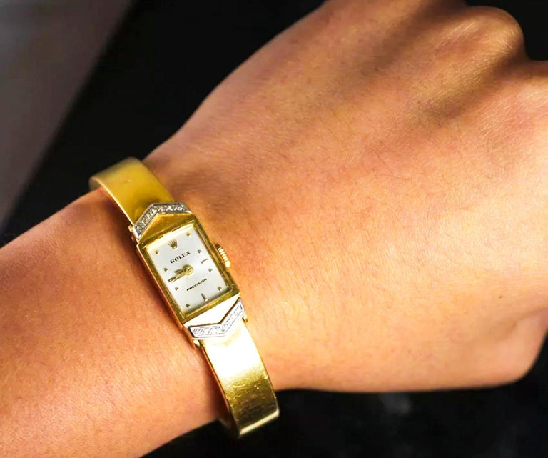 Women's or Men's Rolex Rare 1970s Precision 18 Karat Yellow Gold Diamond Bracelet Watch For Sale