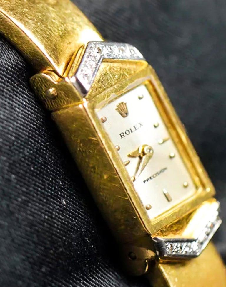 Rolex Rare 1970s Precision 18 Karat Yellow Gold Diamond Bracelet Watch For Sale 1