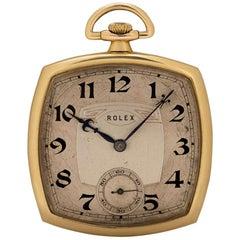 Rolex Rare Art Deco Open Face Pocket Watch Vintage 9 Karat Gold Silver Dial