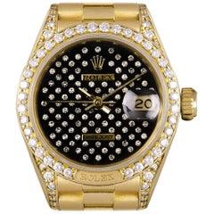 Rolex Rare Datejust Gold Black Pleiade Diamond Dial Diamond Set 69158 Watch