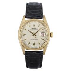 Rolex Rare Datejust Vintage Yellow Gold Dagger Dial Roulette Date Wheel