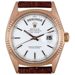 Rolex Rare Day-Date Vintage Gents 18 Karat Rose Gold Red Quarters Dial 1803