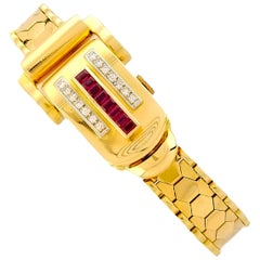 Rolex Rare Retro 1950s Vintage Ruby Diamond Bracelet Wristwatch