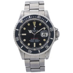 Rolex Red Submariner 1680 Mark IV Vintage Black Dial Men's Watch, 1968