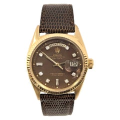 Rolex Ref 1803 Gold Day Date Automatic Wristwatch with Chocolate Diamond Dial