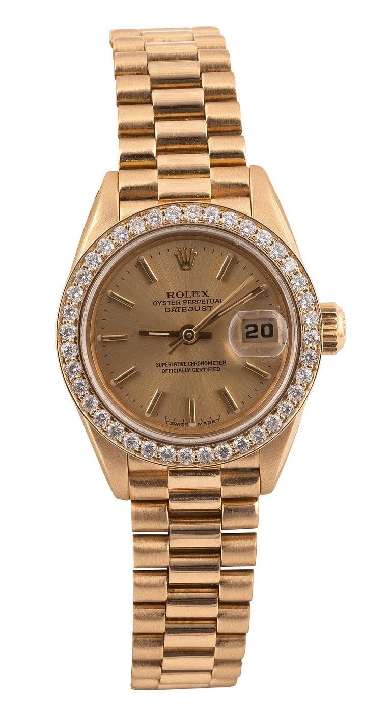 Brilliant Cut Rolex Ref. 69138 Datejust Lady's Diamond Yellow Gold Wristwatch